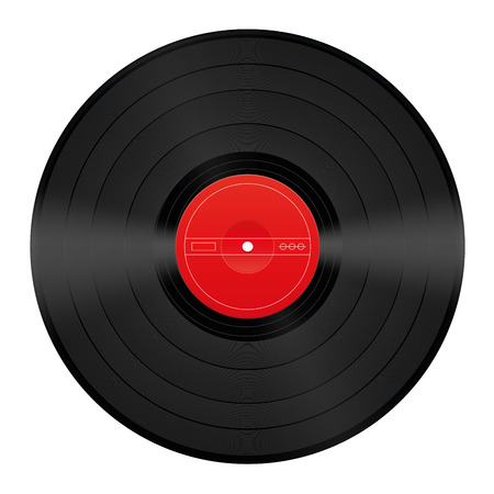 unlabeled: Vinyl record with blank red center  Illustration