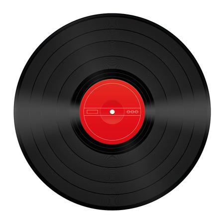 Vinyl-Schallplatte mit leeren roten Zentrum Standard-Bild - 37696529