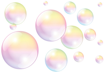 Soap bubbles - isolated vector illustration on white background.