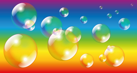 rainbow sphere: Soap bubbles - isolated vector illustration on rainbow colors gradient background.