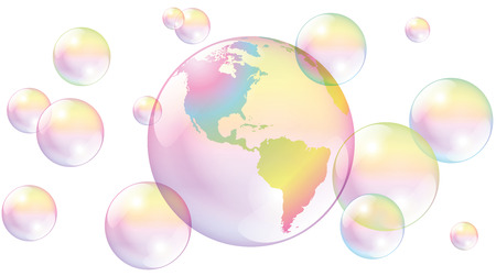 vulnerable: Planet earth as a vulnerable soap bubble amidst other soap bubbles. Isolated vector illustration on white background.