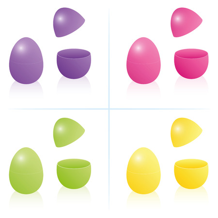 Easter egg boxes, closed and opened to be filled - in the four bright spring colors purple, pink, green and yellow. Three-dimensional isolated vector illustration on white background. Illustration