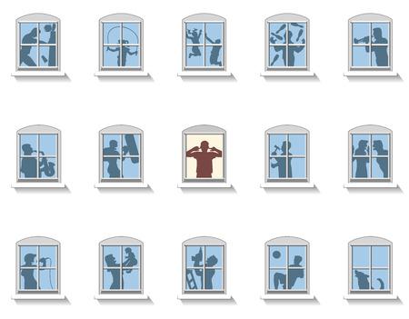 contaminacion acustica: Los vecinos que hacen diversos tipos de ruido, en la ventana del medio un hombre molesto cubre sus oídos. Ilustración vectorial aislados en fondo blanco.