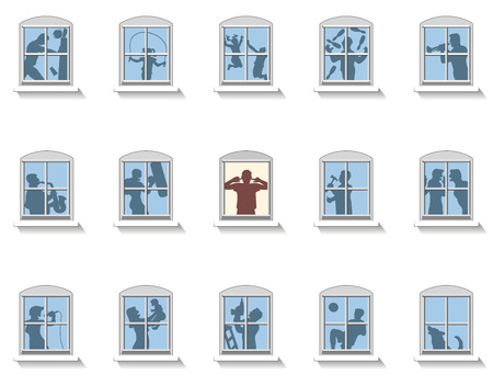 nuisance: Neighbors that make various kinds of noise, in the middle window an annoyed man covers his ears. Isolated vector illustration on white background. Illustration