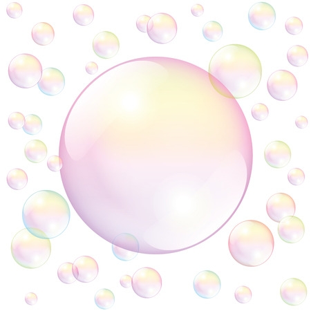 fill in: Big pink soap bubble surrounded by small soap bubbles - to fill in any text or image. Isolated vector illustration over white background. Illustration