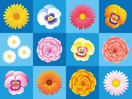 rosas naranjas: Margaritas, pensamientos, áster, rosas, rosas, una variación de flores de colores sobre fondo azul para el patrón de papel tapiz sin fisuras. Ilustración del vector.