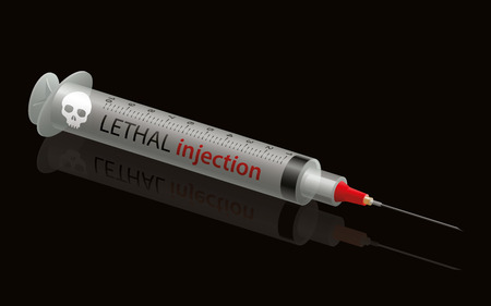 Lethal injection syringe with skull. Isolated vector illustration on black background.