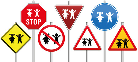 Seven traffic signs concerning children, like warning- stop- yield- or prohibition-signs. Isolated vector illustration on white background.