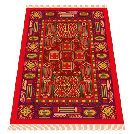 oriental rug: Red oriental carpet, perspective presentation. Isolated vector illustration over white background.