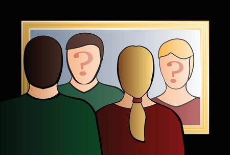 Wer sind wir - Ein Mann und eine Frau in den Spiegel schauen zu fragen? - In ihrem Gesicht ein großes Fragezeichen, um sein Bewußtsein in Frage stellen. Isolierten Vektor-Illustration auf schwarzem Hintergrund.