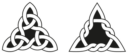 celtic: Celtic knots used for decoration or tattoos. Two varieties of endless basket weave knots. These knots are most known for their adaptation for use in the ornamentation of Christian monuments and manuscripts. Illustration