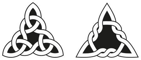celtica: Nodi celtici utilizzati per la decorazione o tatuaggi. Due varietà di infiniti nodi cesto tessuto. Questi nodi sono più noti per il loro adattamento per l'uso nella decorazione di monumenti cristiani e manoscritti.