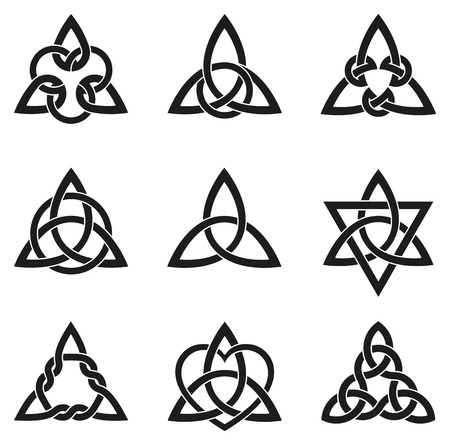 A variety of celtic knots used for decoration or tattoos. Nine endless basket weave knots. These knots are most known for their adaptation for use in the ornamentation of Christian monuments and manuscripts.  イラスト・ベクター素材