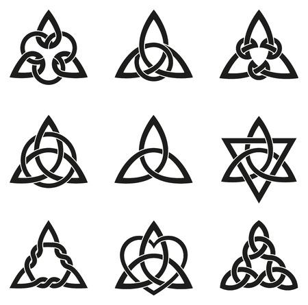 Una variedad de nudos célticos se utilizan para la decoración o los tatuajes. Nueve interminables nudos tejido de cesta. Estos nudos son más conocidos por su adaptación para su uso en la ornamentación de monumentos y manuscritos cristianos. Ilustración de vector