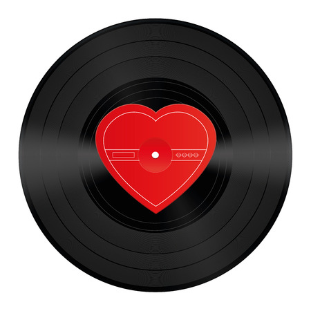 slushy: LP record with blank heart shaped center that can be labeled with a love song or any message of love. Isolated vector illustration on white background.