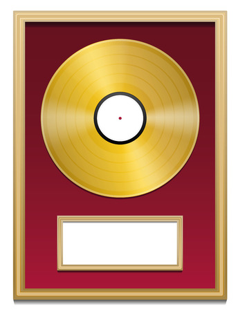 gold record: Gold record with blank plaque that can be labeled, in a golden frame on red ground. Isolated vector illustration over white background.