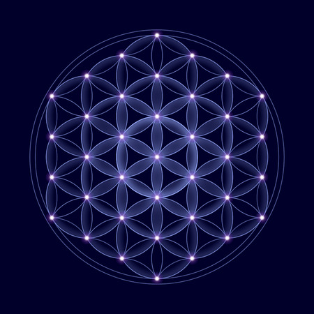 Cosmic Flower of Life with stars on dark blue background, a spiritual symbol and Sacred Geometry since ancient times. Stock Photo