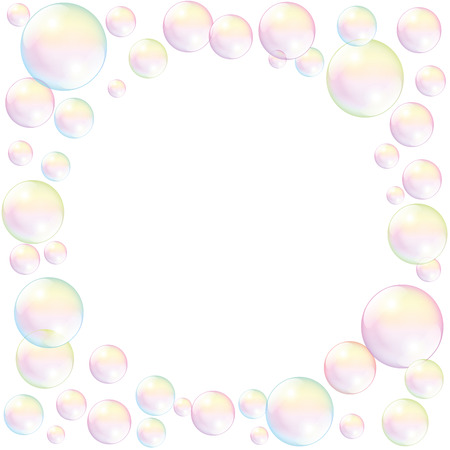 Las burbujas de jabón con el espacio vacío para llenar cualquier texto o imagen. Ilustración vectorial aislados en fondo blanco. Foto de archivo - 38616354