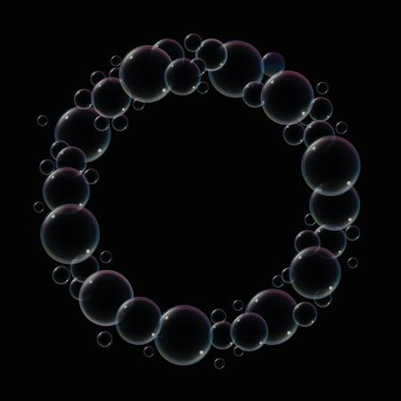 remplir: Anneau de bulles de savon sur fond noir pour remplir dans tout texte ou image. Vector illustration.