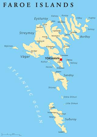 mapa politico: Islas Feroe mapa político con el capital Tórshavn y ciudades importantes. Etiquetado y escalado Inglés. Ilustración. Vectores