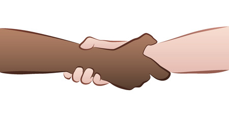 Interracial helping, rescuing, firm handshake grip. Isolated vector illustration on white background.
