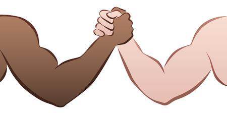 interracial: Interracial competencia pulseada entre un negro y un hombre cauc�sico. Ilustraci�n vectorial aislados en fondo blanco.