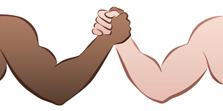 Interracial arm wrestling competition between a black and a caucasian man. Isolated vector illustration on white background. Stock Illustratie
