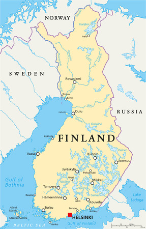 Finland Political Map with capital Helsinki, national borders, important cities, rivers and lakes. English labeling and scaling. Illustration. Vector