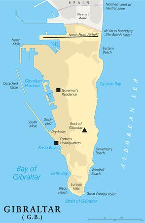 mapa politico: Gibraltar Mapa Político del Territorio Británico de Ultramar. Etiquetado y escalado Inglés. Ilustración.