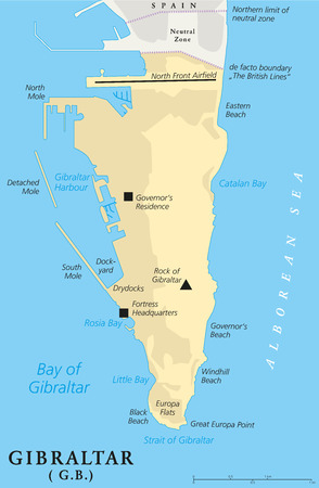 iberian: Gibraltar Political Map of the British Oversea Territory. English labeling and scaling. Illustration.