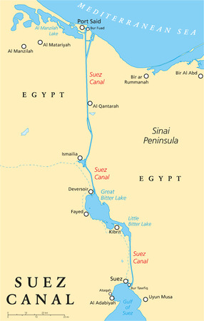 canal: Suez Canal Political Map. Artificial sea-level waterway in Egypt, connecting the Mediterranean Sea and the Red Sea. English labeling and scaling. Illustration.
