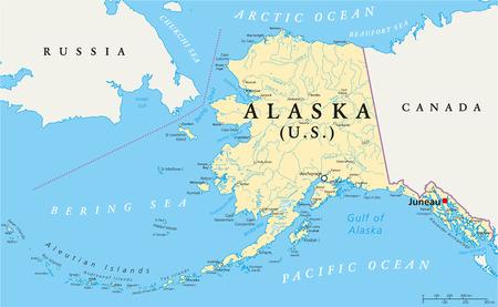 US-Außen Alaska Politische Karte mit der Hauptstadt Juneau, nationale Grenzen, wichtige Städte, Flüsse und Seen. Englisch Kennzeichnung und Skalierung. Illustration.
