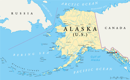 US State Alaska Political Map with capital Juneau, national borders, important cities, rivers and lakes. English labeling and scaling. Illustration. Vector