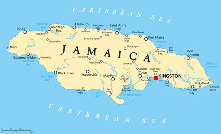 Jamaica Political Map with capital Kingston, important cities and rivers. English labeling and scaling. Illustration. 向量圖像