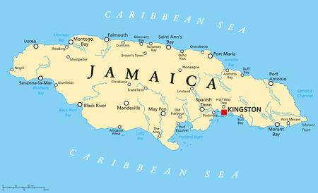 Jamajka Polityczna mapa stolicy Kingston, miast i rzek. Angielski oznakowania i skalowanie. Ilustracja.