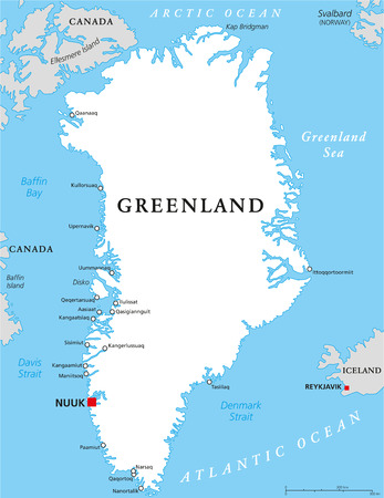labeling: Greenland Political Map with capital Nuuk and important cities. Autonomous country within the Kingdom of Denmark. English labeling and scaling. Illustration. Illustration