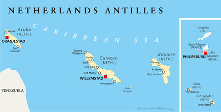 Netherlands Antilles Political Map. Aruba, Curacao, Bonaire, Sint Maarten, Saba and Sint Eustatius with capitals and important cities. English labeling and scaling. Illustration. Illustration