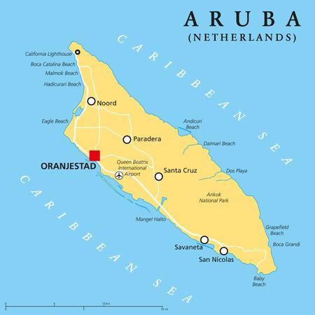 mapa politico: Aruba Mapa Pol�tico con el capital Oranjestad y ciudades importantes. Etiquetado y escalado Ingl�s. Ilustraci�n. Vectores