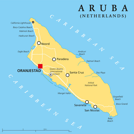 scaling: Aruba Political Map with capital Oranjestad and important cities. English labeling and scaling. Illustration.