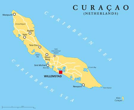 mapa politico: Curacao Mapa Político con el capital Willemstad y ciudades importantes. Etiquetado y escalado Inglés. Ilustración.