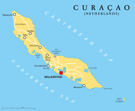 Curacao Political Map with capital Willemstad and important cities. English labeling and scaling. Illustration. Ilustração