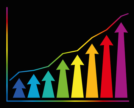 upward graph: Increase diagram with rainbow colored rising graph and upward tending arrows. Isolated vector illustration on black background. Illustration