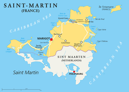 caribbean climate: Saint-Martin Country Political Map. The northern part of the caribbean island Saint Martin. An overseas collectivity of France with the capital Marigot, and important places. English labeling and scaling. Illustration.