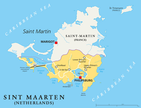 caribbean cruise: Sint Maarten Political Map. The southern part of the caribbean island Saint Martin. A constituent country of the Kingdom of the Netherlands with capital Philipsburg and important places. English labeling and scaling. Illustration. Illustration