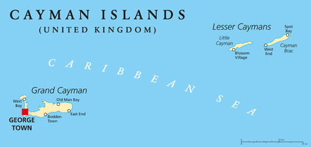 cayman islands: Cayman Islands Political Map with capital George Town and important places. A British Overseas Territory in the western Caribbean Sea. English labeling and scaling. Illustration.