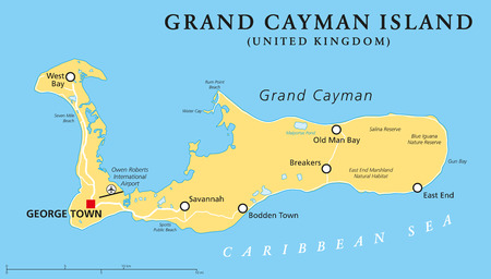 georgetown: Grand Cayman Island Political Map with capital George Town and important places, the largest of the three Cayman Islands, a British Overseas Territory in the western Caribbean Sea. English labeling and scaling. Illustration.