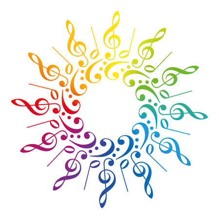 Treble clefs, bass clefs and scores, that form a radial rainbow colored pattern. Isolated vector illustration on white background. Stock Illustratie