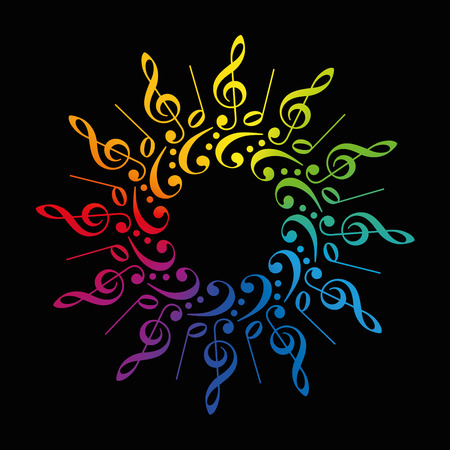 Treble and bass clefs and scores forming a radial rainbow colored flower or star. Isolated vector illustration on black background.
