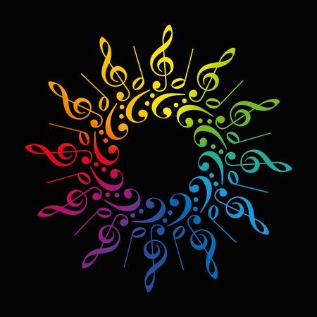 bass clef: Claves y las puntuaciones de agudos y graves que forman un arco iris de colores de flores radial o en estrella. Ilustración vectorial aislados en fondo negro.