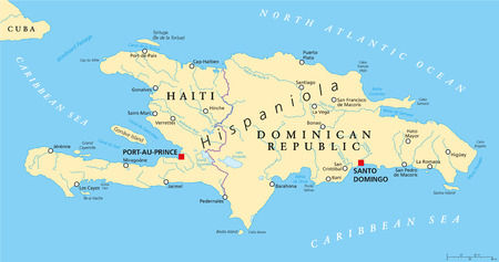 Hispaniola Political Map with Haiti and Dominican Republic, located in the Caribbean island group, the Greater Antilles. With capitals, national borders, important cities, rivers and lakes. English labeling and scaling. Illustration. Ilustração